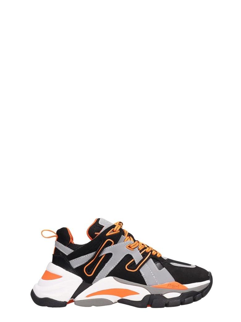 Ash Grey And Orange Fluo Mesh Flash Sneakers - grey