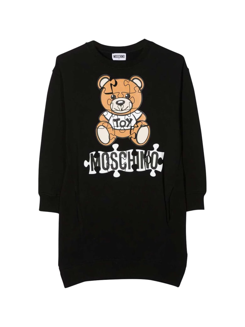 Moschino Black Dress With Frontal Toy And Logo Press - Nero