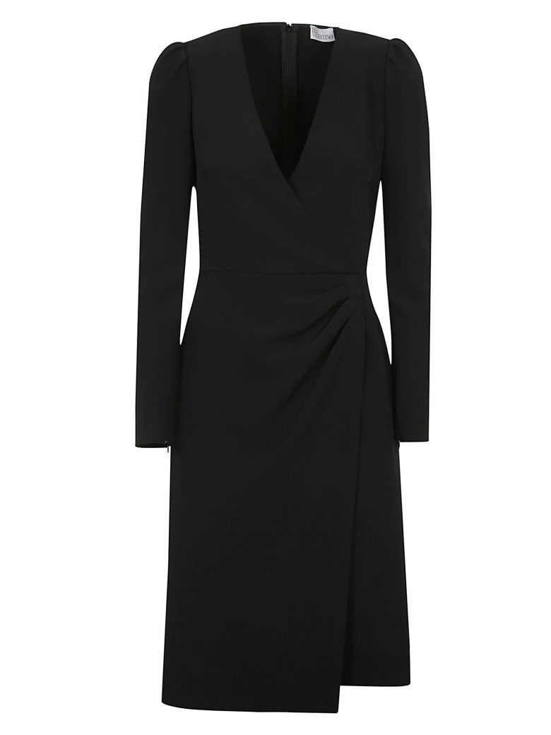 RED Valentino V-neck Mid-length Dress - Black