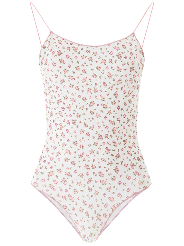 Oseree Floral Swimsuit - PINK ROSE (White)