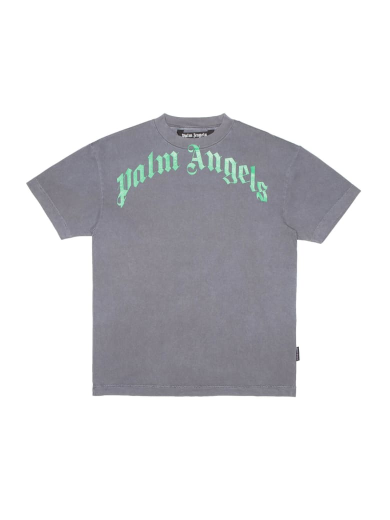 Palm Angels Vintage Wash Curved Logo T-shirt - Black