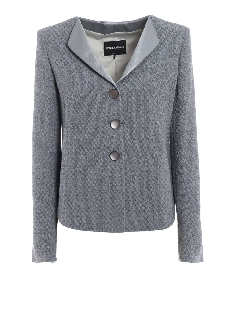 Giorgio Armani Checkerboard Jacquard Jacket - Ec Printed Blue