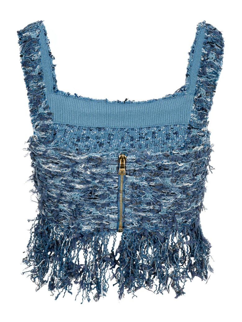 Balmain Fringed Tweed Top - BLUE