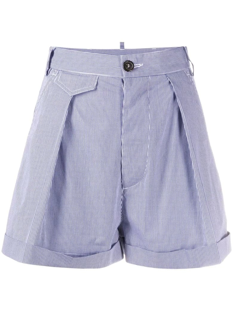Dsquared2 Blue And White Cotton Shorts - Quadretti