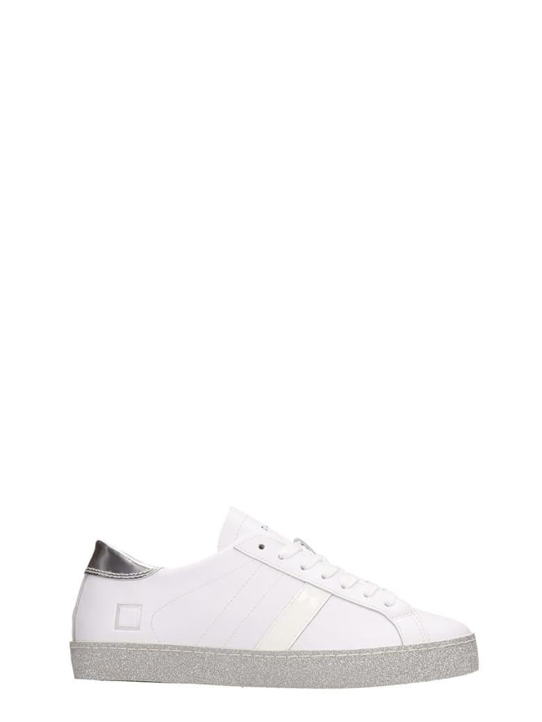 D.A.T.E. Vertigo White Silver Leather Sneakers - silver