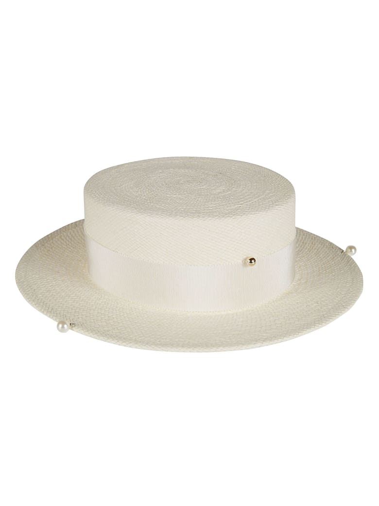 Ruslan Baginskiy Pearl Embellished Woven Hat - White