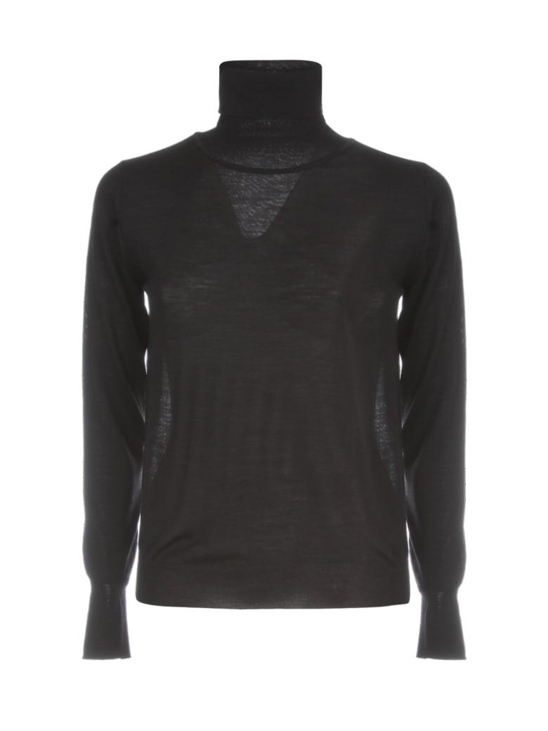 Nuur High Neck 100% Merino Wool Sweater - Nero