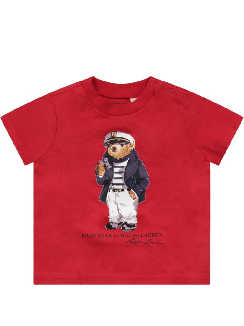 Ralph Lauren Red Babyboy T-shirt With Iconic Bear - Red