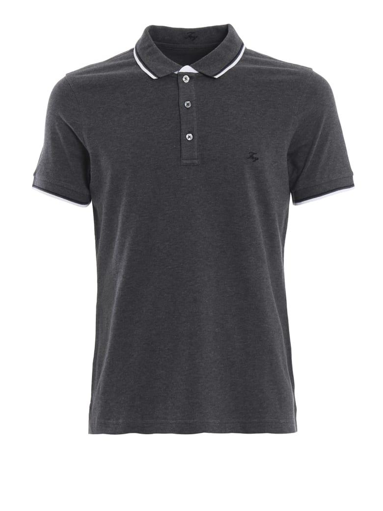Fay Double Collar Dark Grey Polo Shirt - Grey