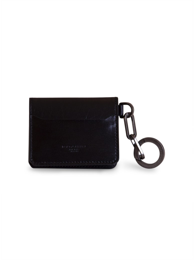 Dolce & Gabbana Horsehide Card Holder With Ring And Heat-stamped Logo - NERO