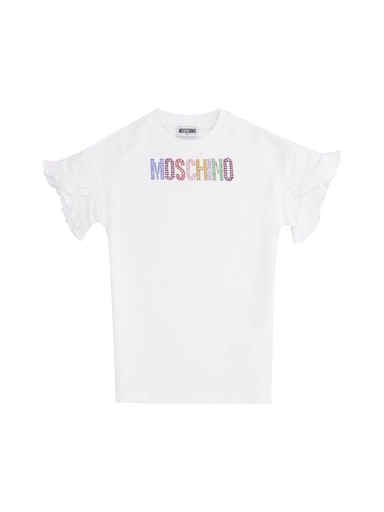 Moschino Logo Print Cotton Sweatdress - White