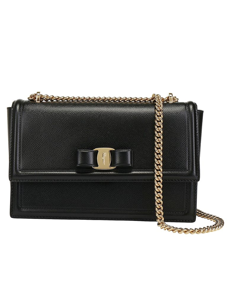 Salvatore Ferragamo Ginny Leather Shoulder Bag - Nero