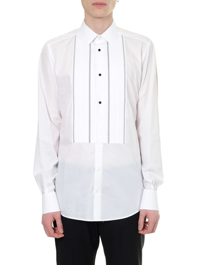 Dolce & Gabbana White Cotton Embroidered Bib Shirt - White