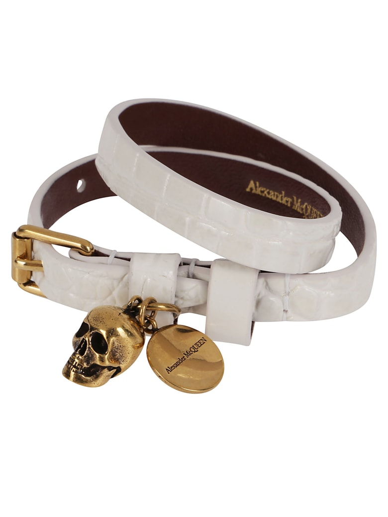 Alexander McQueen White Leather Bracelet - DEEP IVORY