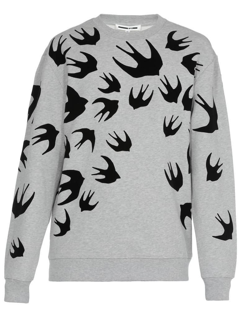 McQ Alexander McQueen Swallow Swarm Print Sweater - Mercury Melange