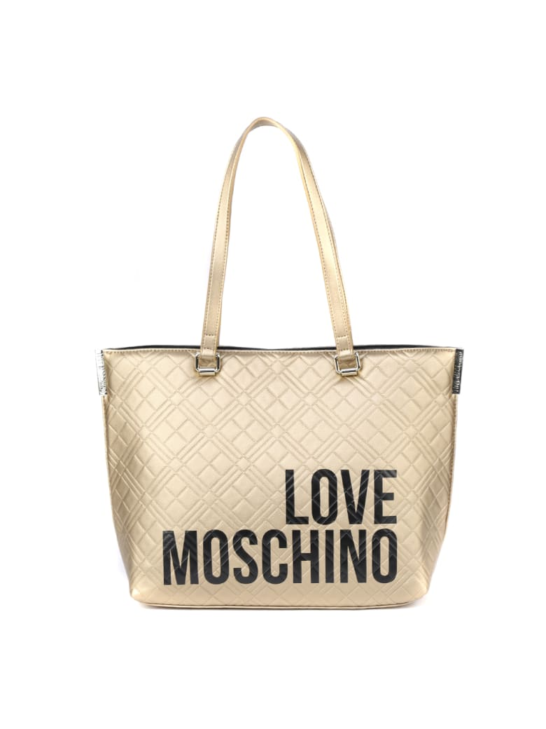 Love Moschino Gold Quilted Ecoleather Shopper Bag - Gold