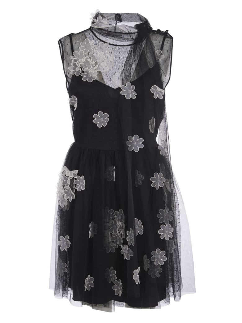 RED Valentino Sleeveless Lace Floral Dress - Black