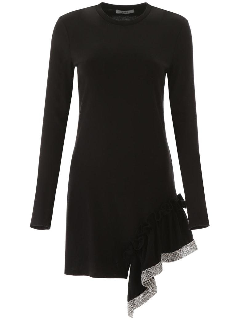 AREA Jersey Dress With Ruffle And Rhinestones - BLACK (Black)