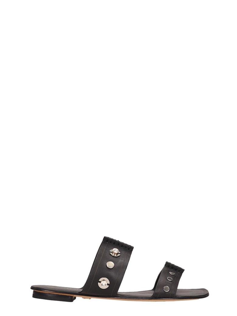 Lola Cruz Black Leather Flat Sandals - black