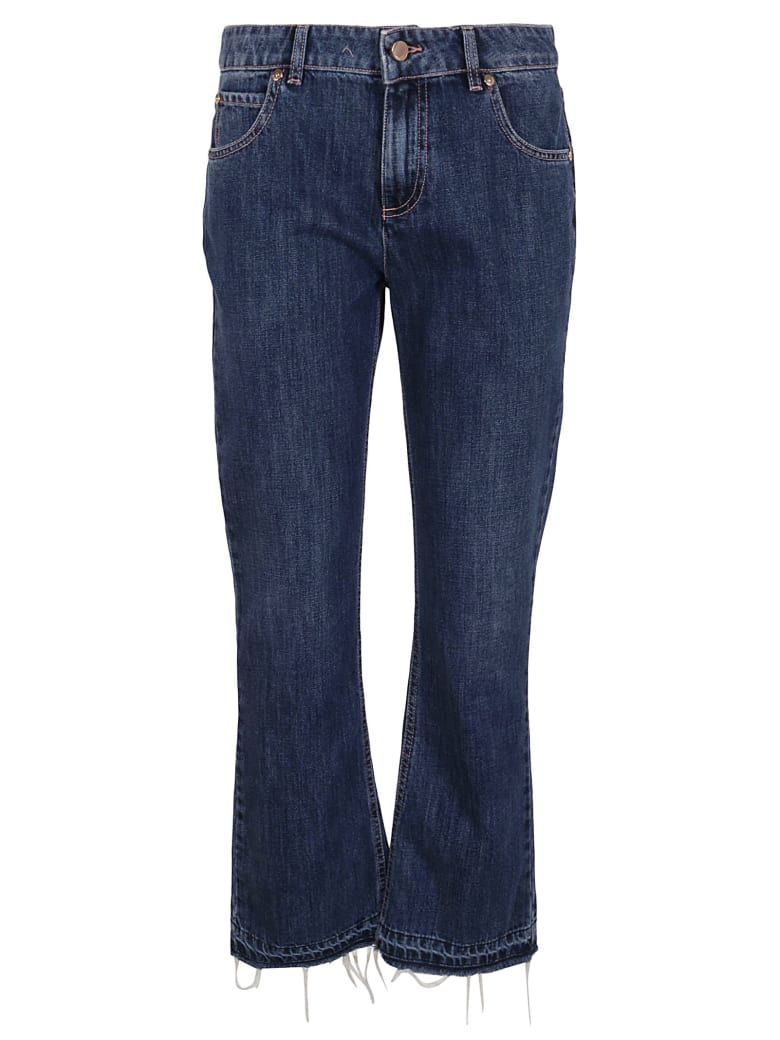 RED Valentino Denim Bottoms Bleached+stone Wash+scallo - BLUE