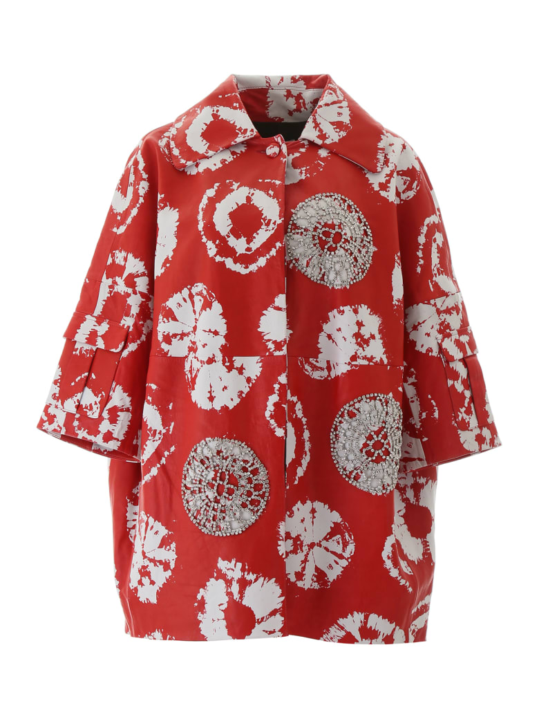 AREA Jacquard Coat With Crystals - RED WHITE (Red)