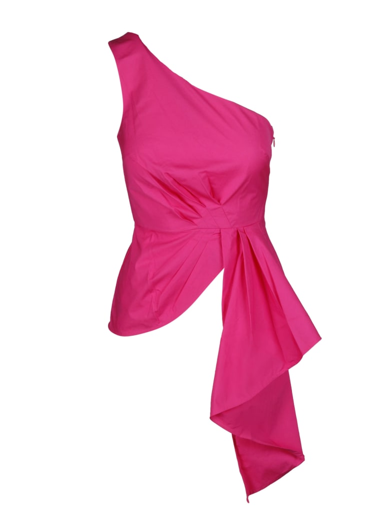 self-portrait Asymmetric One Shoulder Top - Pink & Purple