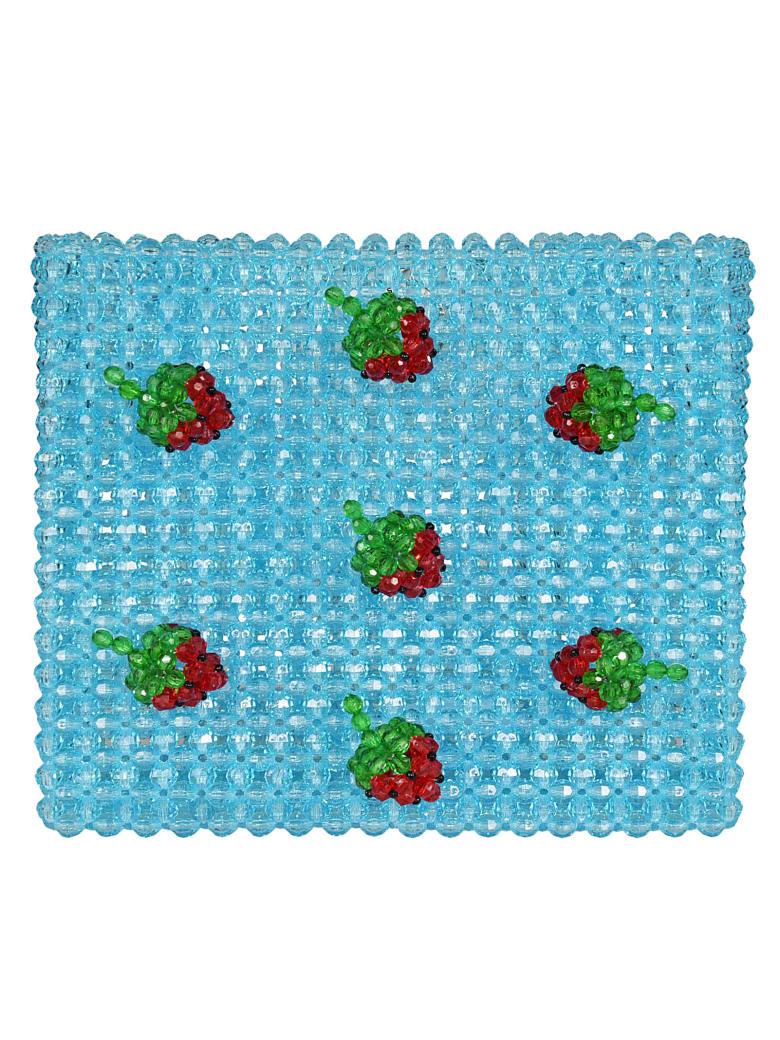 Susan Alexandra Strawberry Beaded Tote - Azzurro