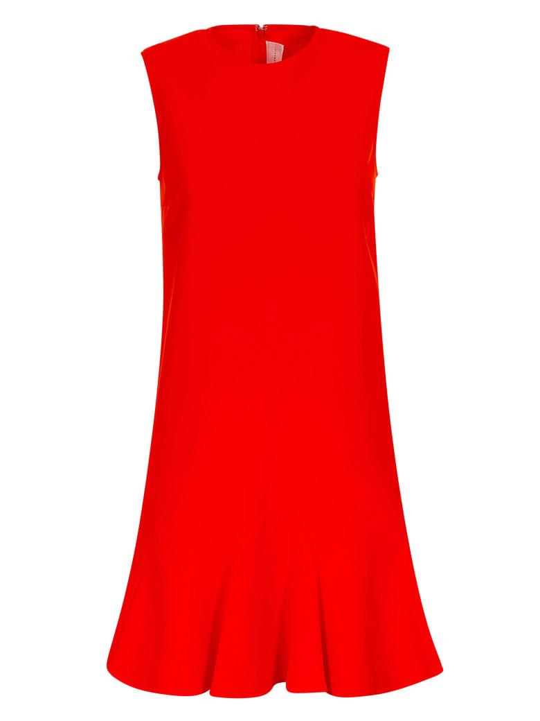 Victoria Victoria Beckham Dressed Flounce Hem Shift Dress - Flame Red