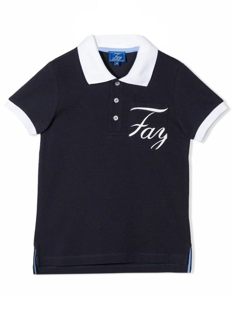 Fay Blue And White Cotton Polo Shirt - Blu
