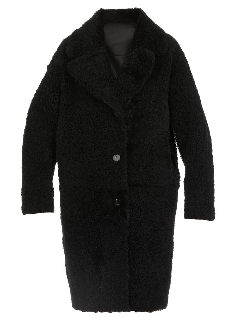 DROMe Reversible Leather Coat - BLACK