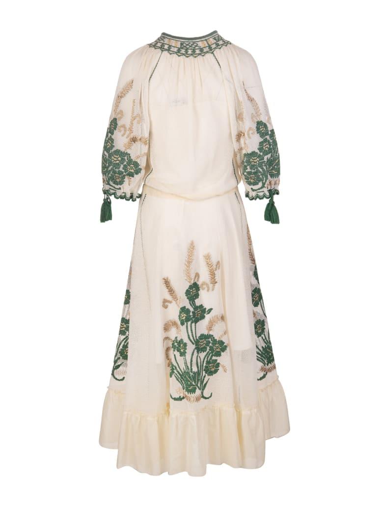 RED Valentino Ivory/green/beige Tassel-trim Embroidered Dress - India