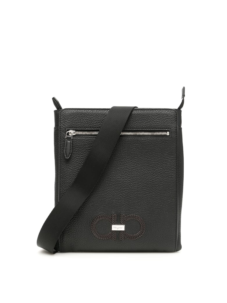 Salvatore Ferragamo Woven Logo Messenger Bag - BLACK BROWN (Black)