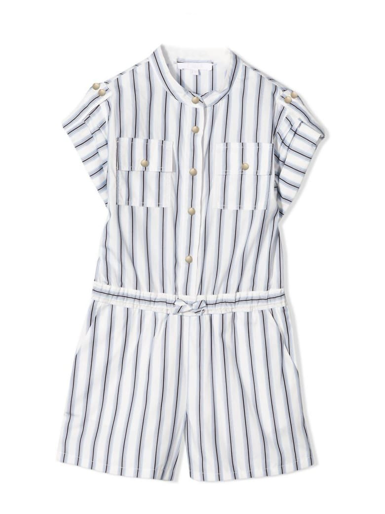Chloé Blue And White Cotton Playsuit - Rig Azzurra