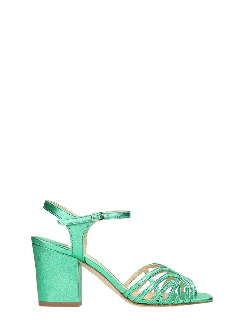 The Seller Laminated Green Leather Sandals - green