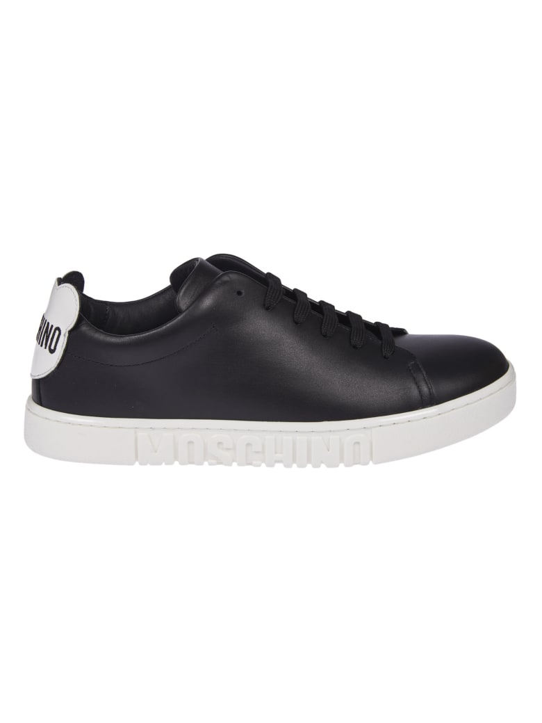 Moschino Rear Logo Patched Sneakers - Black/White