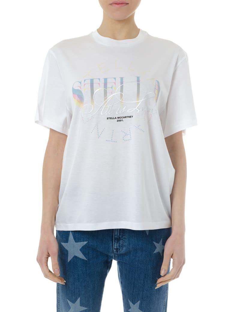 Stella McCartney White Cotton T-shirt With Multicolor Logo - Pure white