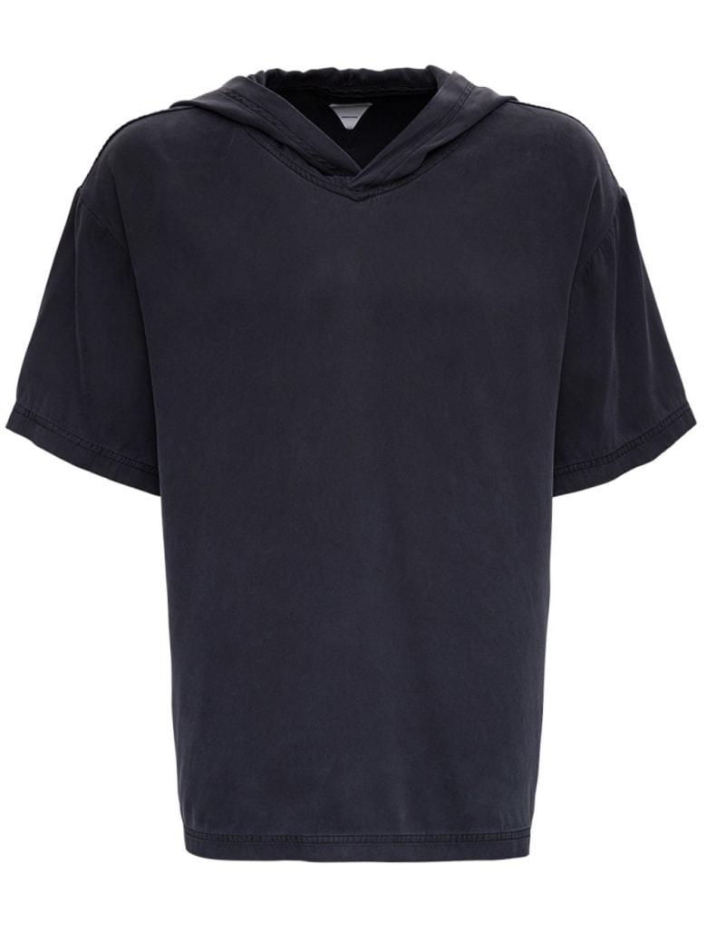 Bottega Veneta Stone Washed Silk Hooded T-shirt - Black