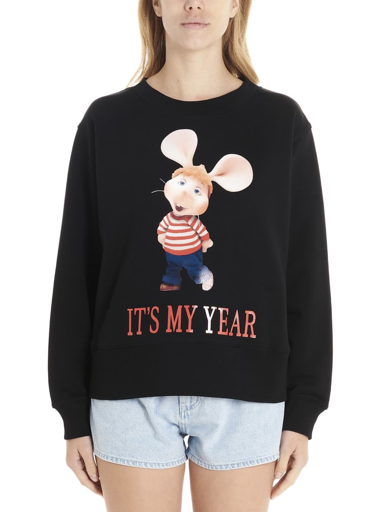Alberta Ferretti 'topo Gigio It's My Year' Sweatshirt - Black