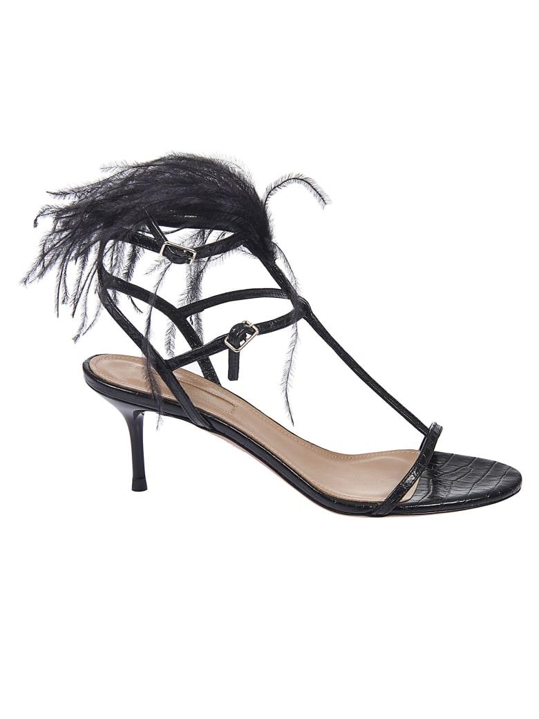 Aquazzura Feather Detail Sandals - Black