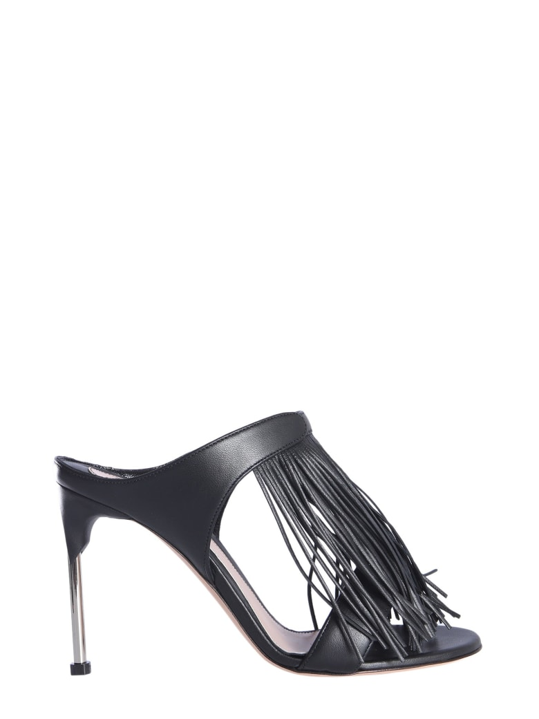 Alexander McQueen Mandle Sandals With Fringes - NERO