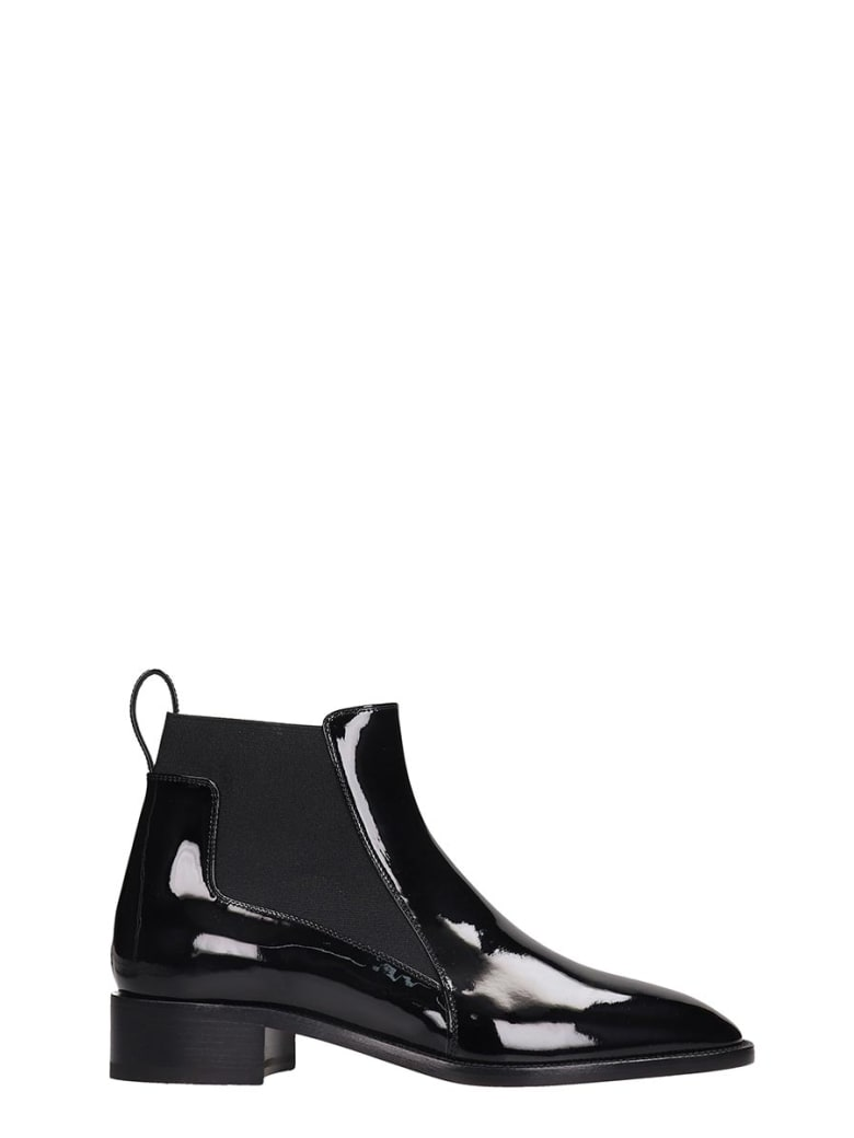 Christian Louboutin Marmada Flat Low Heels Ankle Boots In Black Patent Leather - black