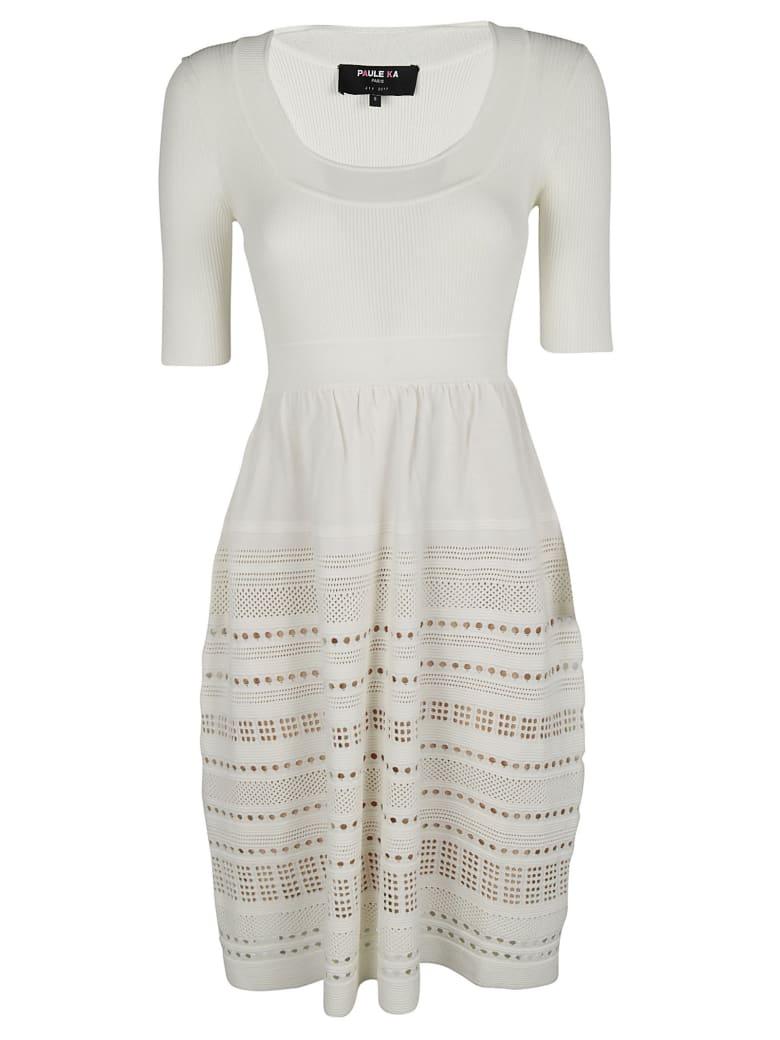 Paule Ka Perforated Detail Dress - White