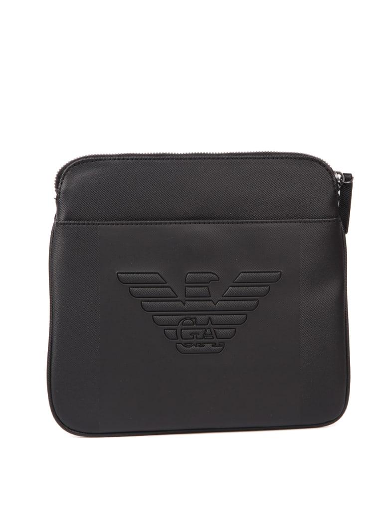 Emporio Armani Black Embossed Logo Shoulder Bag - Black