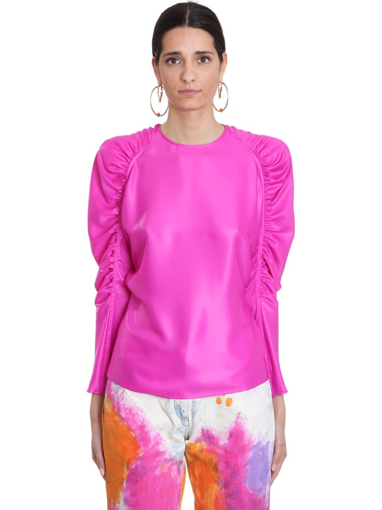 Versace Blouse In Viola Silk - Viola