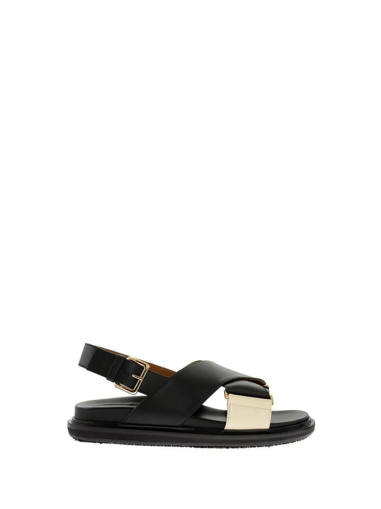 Marni Criss-cross Fussbett Calfskin Sandal - Black/white
