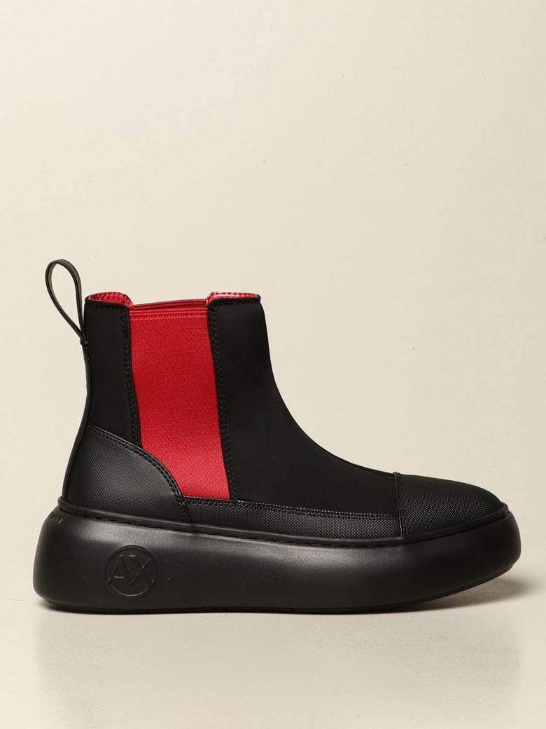 Armani Collezioni Armani Exchange Flat Booties Armani Exchange Scuba Boots - Black