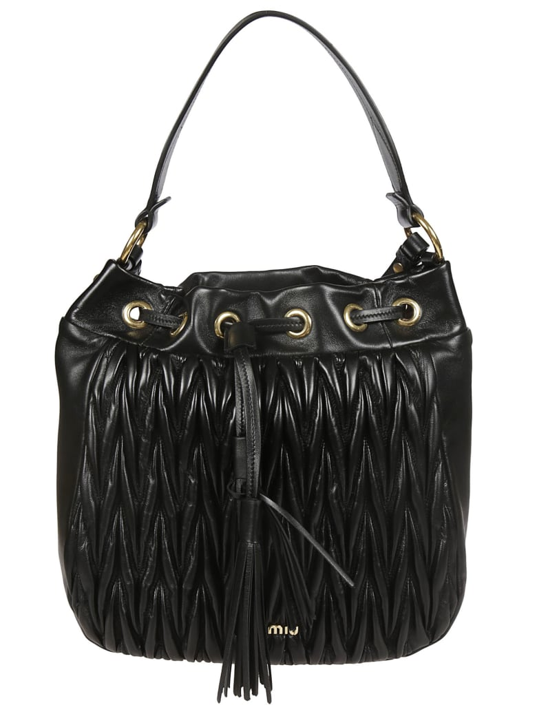 Miu Miu Matelassé Quilted Bucket Bag - Black