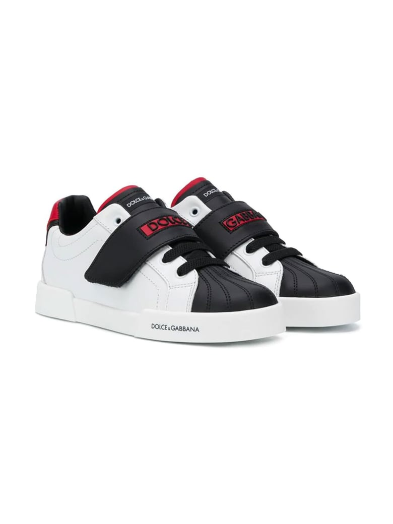 Dolce & Gabbana Black And White Sneakers Dolce&gabbana Kids - Bianco/rosso