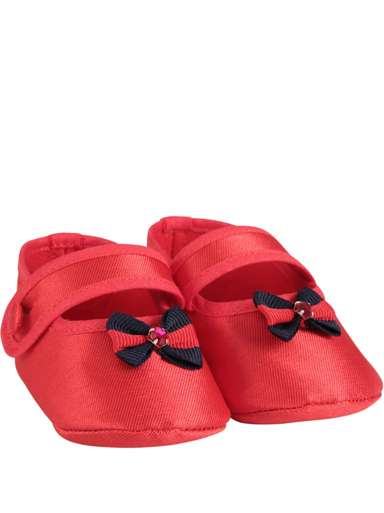 LòLò Red Babygirl Flat Shoes With Bow - Red