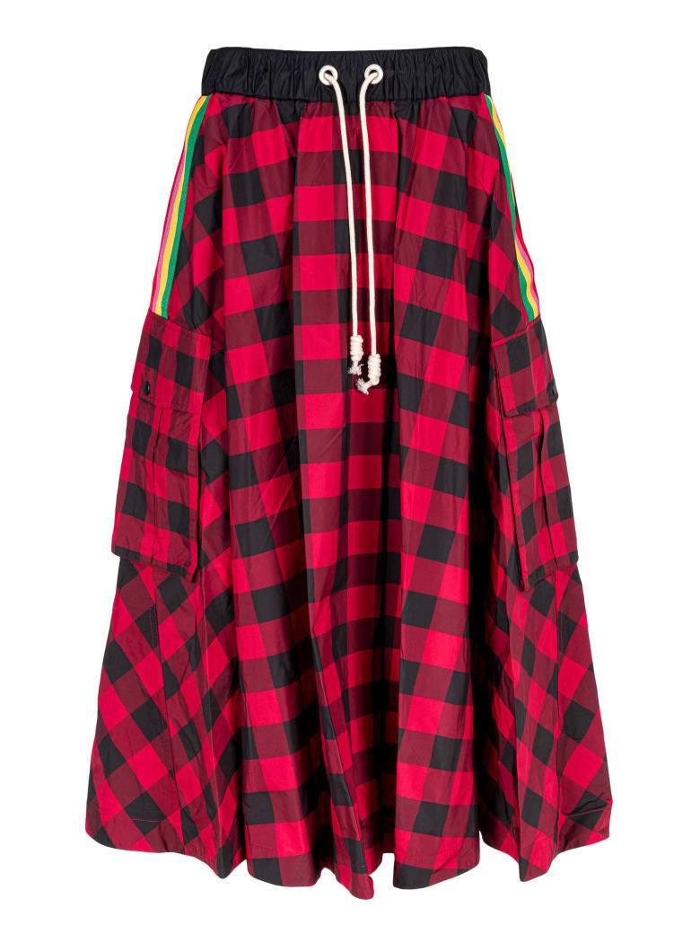 Palm Angels Skirt Check - Rosso e Bianco